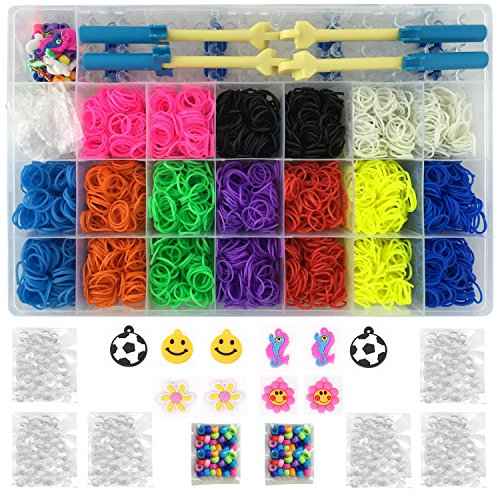 Kiserena Complete Collection Loom Bands Set with 4000 10-Color Rainbow Rubber Bands, 1 Loom, 2 Metal Hook, 2 Plastic Hook, 170 S Clips, 10 Charms, Beads and Organizer. Fun Loom Bracelet Making Kit