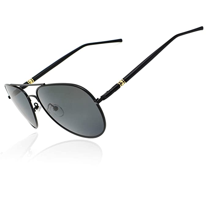 11a8e239e3 Ronsou Aviator Driving Polarized Sunglasses Eyewear Glasses for Men and  Women black frame gray lens