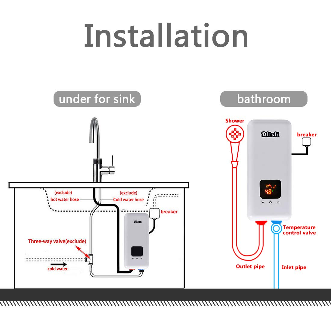 240V 5.5KW 3 Power Levels Instant Electric Hot Tankless Water Heater on