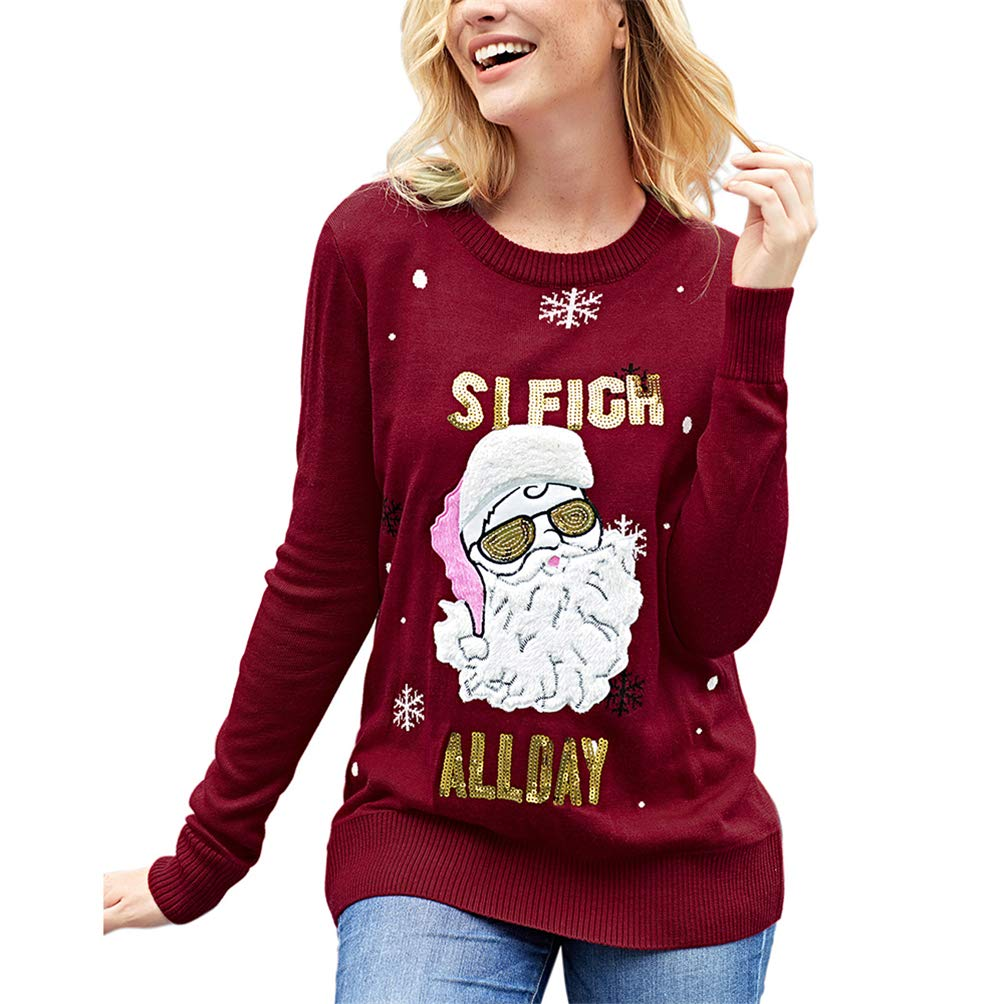 Happy Xmas Sweater Santa Claus Jumper Women Pullover Christmas Cozy Knit Sweatshirt Round Neck