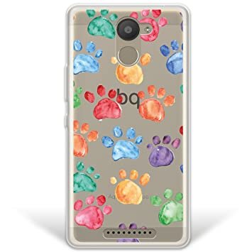 WoowCase Funda Bq Aquaris U Plus, [Hybrid ] Huellas Perro ...