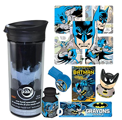 DC Comics Batman Fun Sip Favor Cup! Valentines Gift, Easter Basket Filler, Stocking Stuffer or Party Favor! Pre-Filled & Ready For Giving! Includes Keepsake Tumbler, Stickers & Favors! -