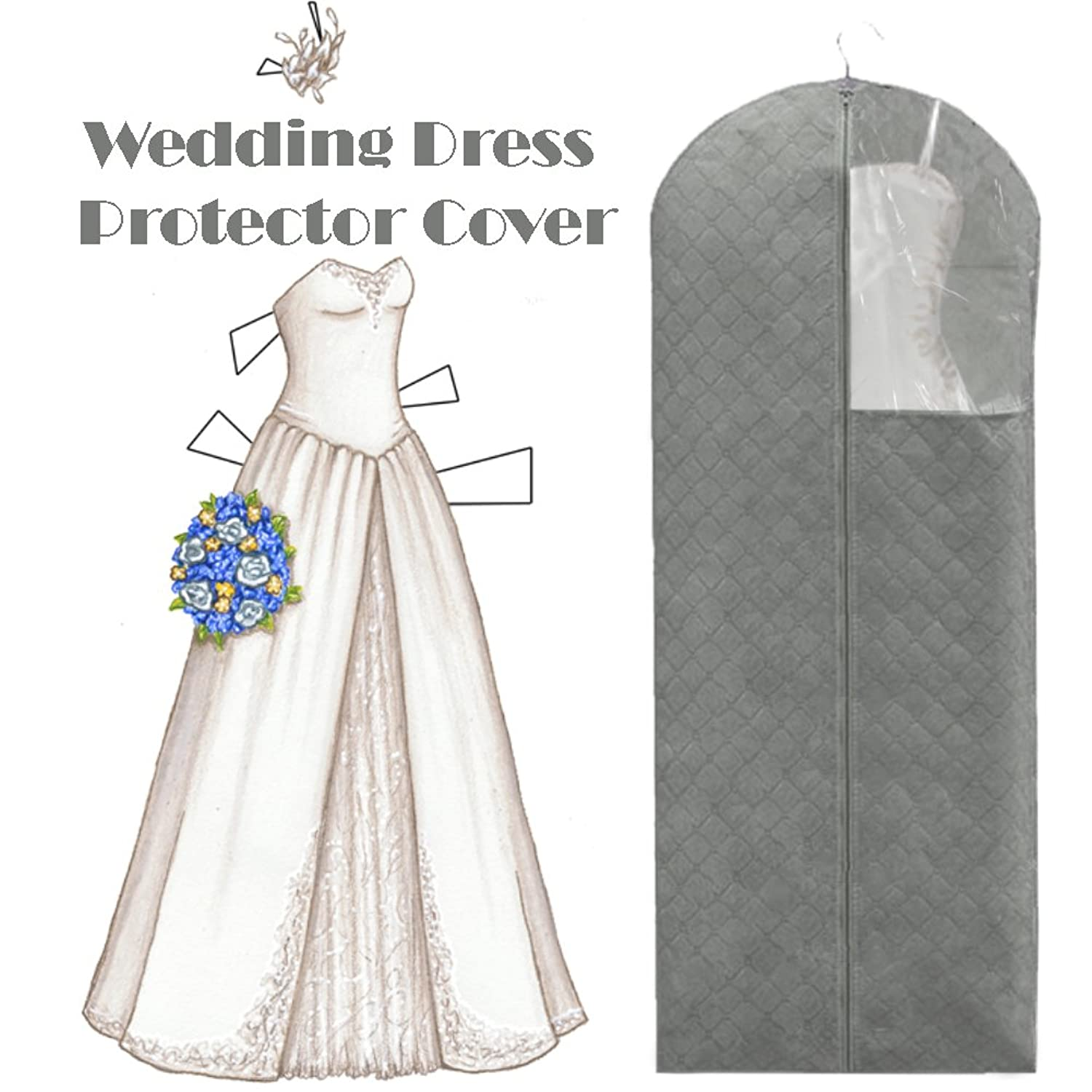 2 Pack of Bamboo Charcoal Dust Free Dress Cover, Garment Storage Bag Big Size