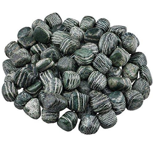 SUNYIK Tumbled Polished Stone,Irregular Crystal for Tumbling,Cabbing,Natural Green Zebra Jasper 1pound(About 460 Gram)