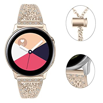 Myada para 20MM Correa Samsung Galaxy Watch 42mm, Pulsera Para Samsung Galaxy Watch Active 40 mm Diamantes de imitación para mujer Banda de Pulsera de ...