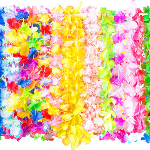 Hawaiian Leis Bulk Party Favors - 50 Tropical Hawaiian Necklace Silk Flower Leis, Kids or Adults Luau Party Decorations and Party Supplies -