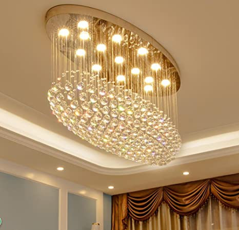 newest collection 5f1e9 67276 Yue Jia Comtemprary Modern Clear K9 Crystal Chandelier Oval ...