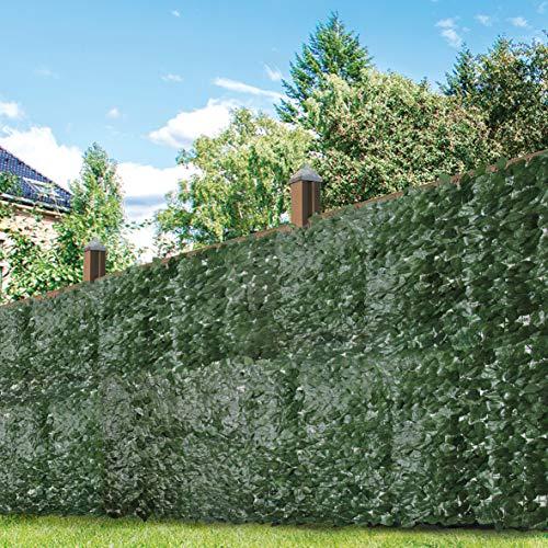 GardenKraft 26120 Artifical Dark Ivy Leaf Willow Fence Panel Screening Privacy Hedging Landscaping Garden 3m x 1m