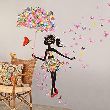 Saingace beau papillon fleur fée belle stickers muraux filles chambre denfant salon maison déco