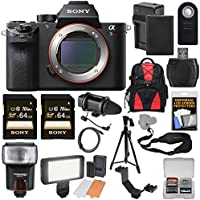 Sony Alpha A7R II 4K Wi-Fi Digital Camera Body with (2x) 64GB Cards + Battery & Charger + Backpack + Flash + LED Light + Microphone + Tripod + Kit