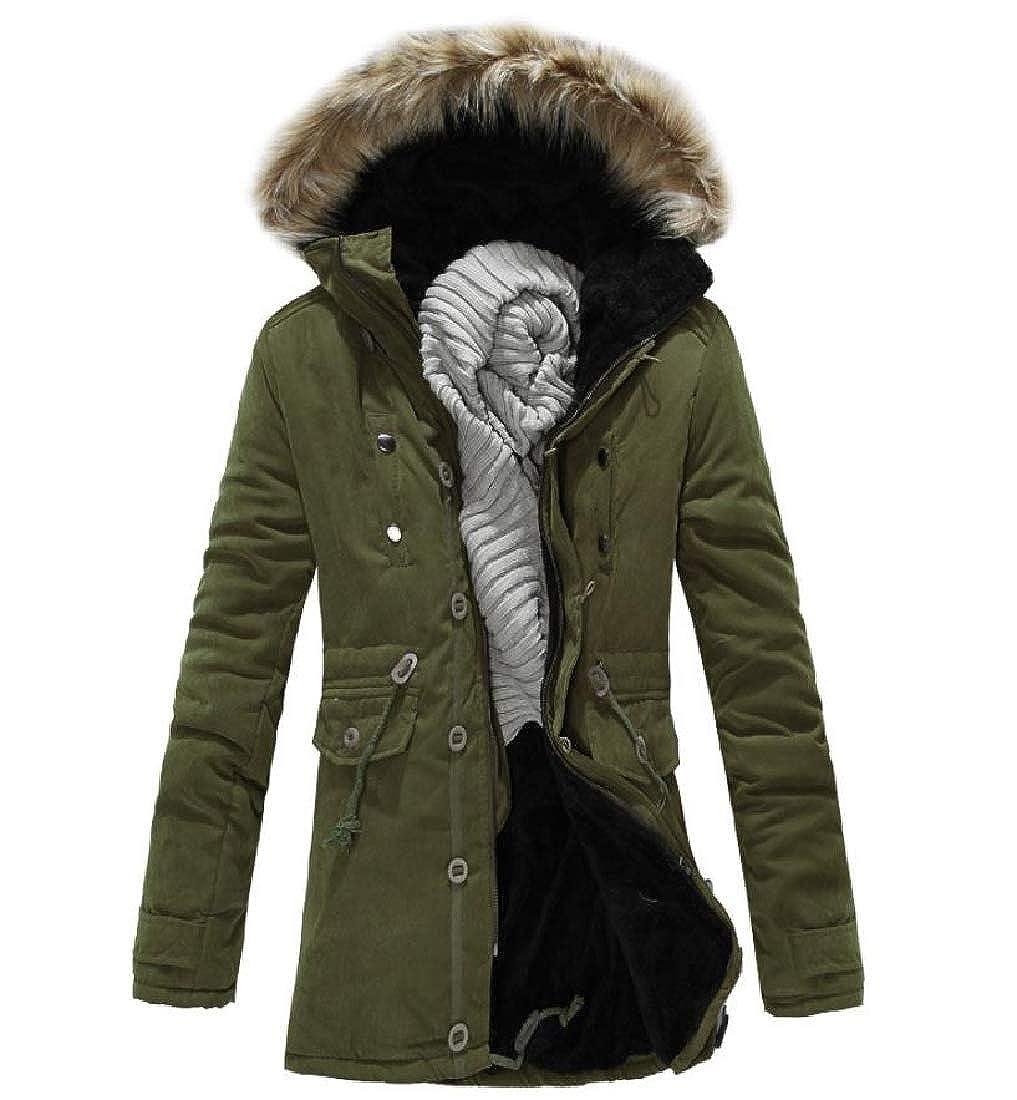 Sebaby Mens Fleece Winter Mid-Long with Faux Fur Hood Warm Down Coat