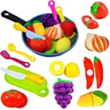 Cut Play Food Kitchen Accessories Set for Kids - Cutting Toy Fruits and Vegetables - Cooking Pot - Toy Knife & Cutting…