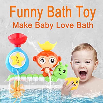 Fitfulvan Cartoon Baby Bath Toy Bathroom Bathtub Funny Shower Spraying Water Toys Toddlers Bath Wall Toy Waterfall Fill Spin and Flow: Toys & Games