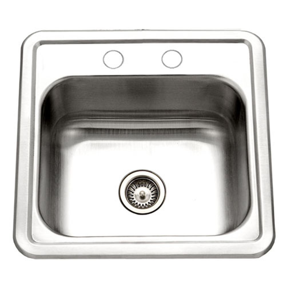 Houzer 1515-6BS-1 Hospitality Series Topmount Stainless Steel 2-Holes Bar/Prep Sink (Renewed) by HOUZER