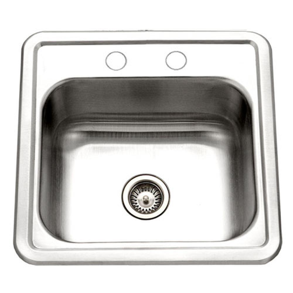 Houzer 1515-6BS-1 Hospitality Series Topmount Stainless Steel 2-Holes Bar/Prep Sink (Renewed)