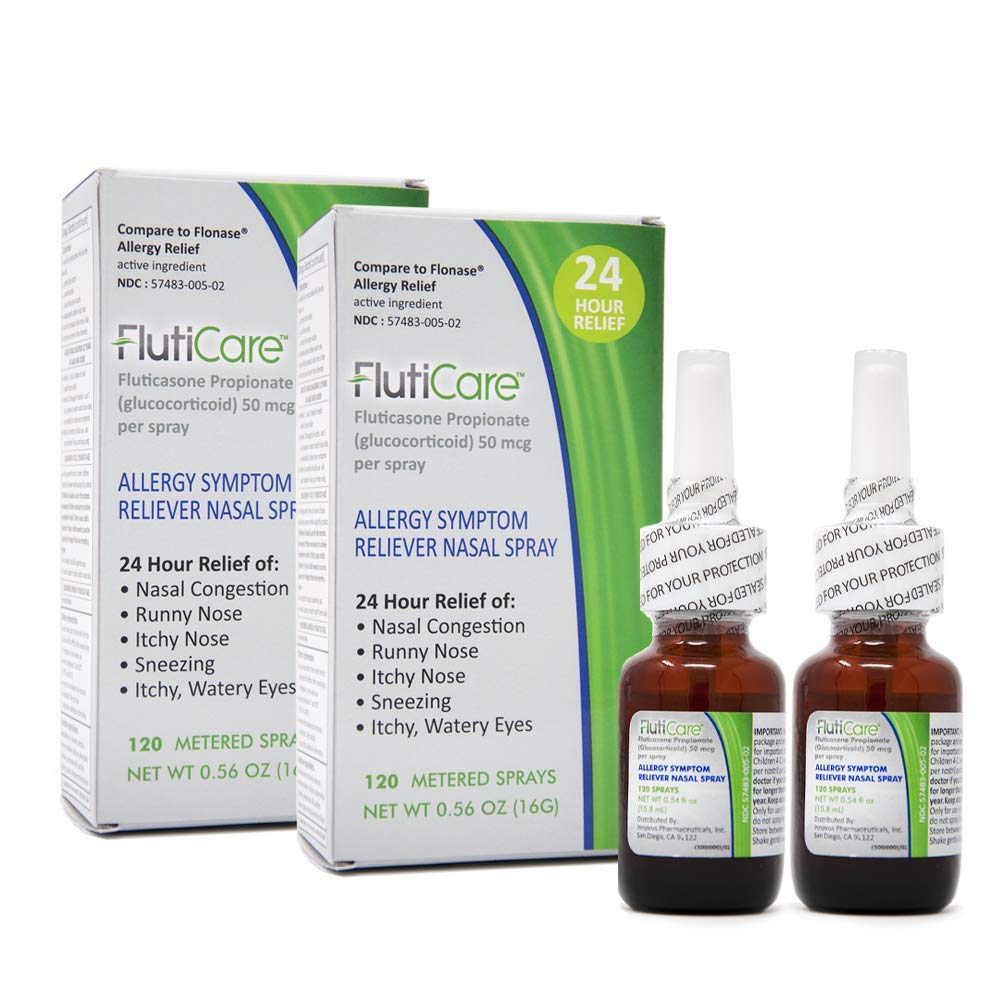 FlutiCare® 120 metered Nasal Sprays (2 Pack), Fluticasone Propionate 50mcg, Relief During Allergy Season from Pollen, Dust, Dander, Both Indoor and Outdoor allergens - 2 Month Supply by FlutiCare