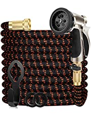 """WGCC Expandable Garden Hose, 50ft Extra-Thick [4 Layers Latex] 5-in-1 Water Garden Hose with Heavy Duty 9 Function Sprayer Nozzle- Water Hose with 3/4\"""" Solid Brass Fittings"""