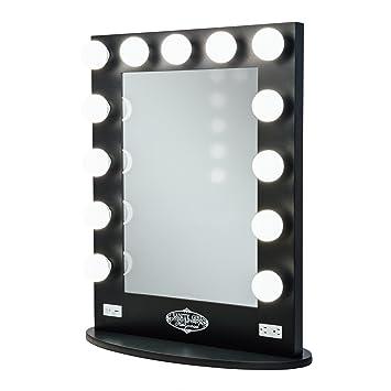black vanity mirror with lights. broadway lighted vanity mirror - gloss black with lights t