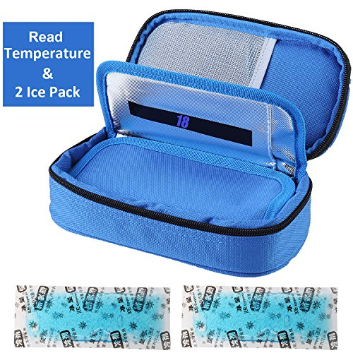 Liners Case Pack (Temperature Display Insulin Cooler Travel Case with Ice Chill Packs Medical Cooler Bag Diabetic Organizer Oxford Fabric, 8 x 4 Inch)