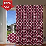 door panel darkening - H.Versailtex Wide Blackout Room Darkening Patio Door Curtains Home Fashion Window Panel Drapes With 16 Grommets - Burgundy Red - 100 inch Wide by 84 inch Long-Moroccan Tile Quatrefoil Pattern