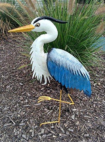 CHSGJY Metal Heron Stake Sculpture 3D Yard Art Decor Lawn Patio Outdoor Living by CHSGJY