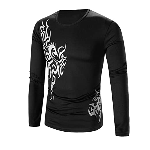 41b791fcb0 Men Blouse, Fashion Gold Dragon Print O Neck Pullover Long Sleeved T-Shirt  Top