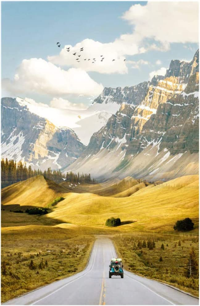 Canvas Painting Nature Scenery Mountain Road Landscape and for Bedroom Home Decor 40x70cm(15.7''x27.5'') Framed
