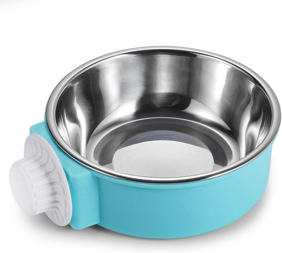 Crate Dog Bowl Stainless Steel Removable Food Bowl Feeder Pet Drink Water Dish Hanging on Cages for Puppy Cat Parrot Bird