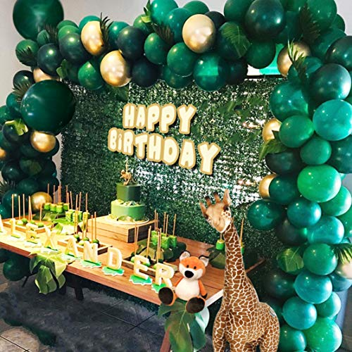 Jungle Theme Party Supplies:143pcs White & Gold & Green Latex Balloons,23 Green Palm Leaves with 16ft balloon strip and 2pcs balloon tying tools for Birthdays, Baby Shower, Christmas Party Decorations