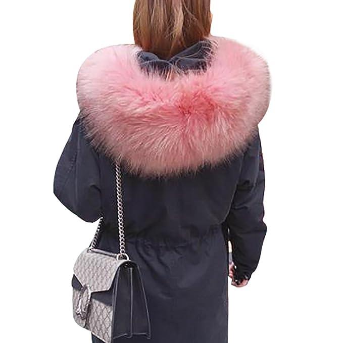 CeRui Abrigo Invierno Mujer Cuello con Pelo Capuchado Térmico Winter Coat M Blackpink