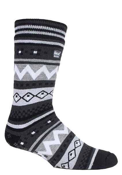 HEAT HOLDERS - Hombre invierno caliente gruesos termicos calcetines antideslizantes estar por casa (39/45, Black/Charcoal (Soul)): Amazon.es: Ropa y ...