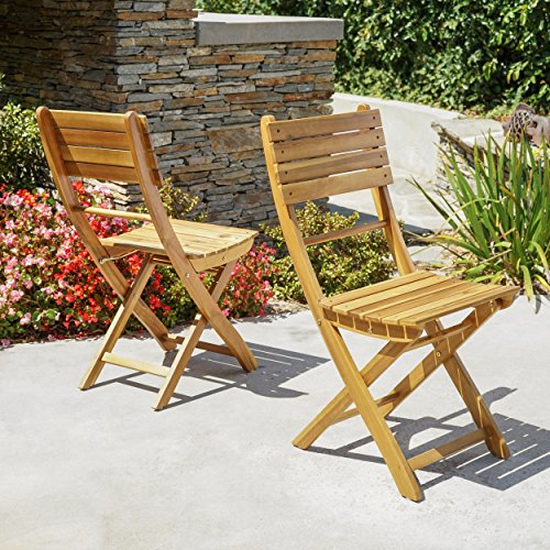 Vicaro | Acacia Wood Foldable Outdoor Dining Chairs (Set of 2) | Perfect for Patio | with Natural Finish