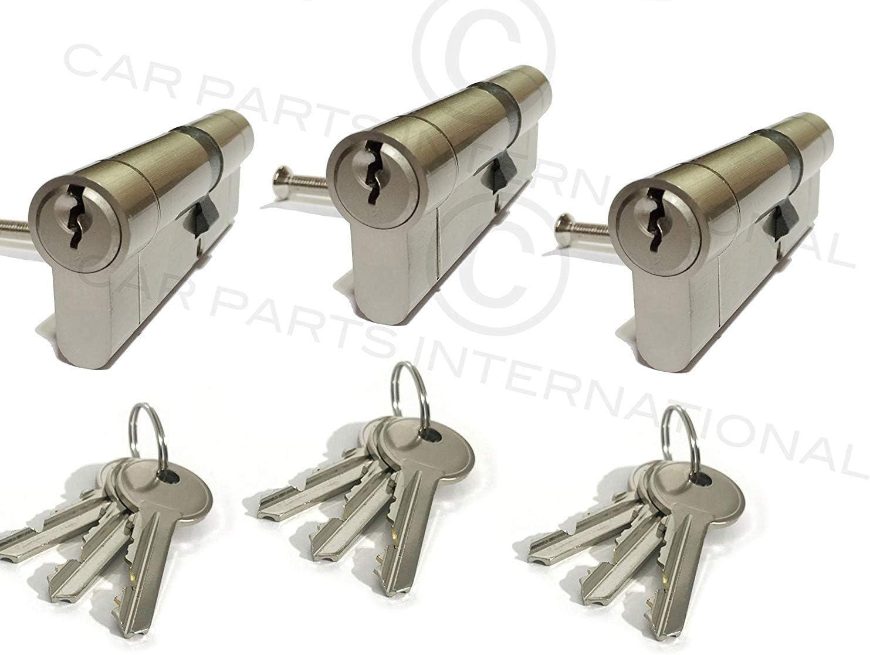 2 x Secure Euro Door Locks 35//45 NICKEL Finish Keyed Alike 3 Keys Per Lock