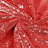 3 Feet 1 Yards-Red-Sequin Fabric, by The Yard, Sequin Fabric, Tablecloth, Linen, for Xmas Decor (Red)
