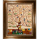 overstockArt Klimt Tree of Life with El Dorado Gold Frame, Patterned Dark Gold Finish