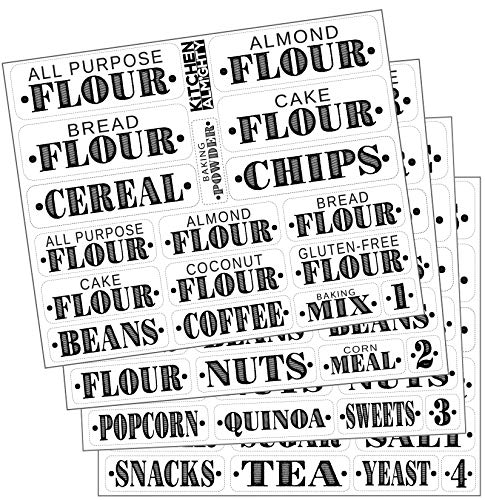 Container Decal - Kitchen Pantry Food Organization Clear Labels: 85 Classy Gloss Preprinted Water Resistant Label Set to Organize Storage Containers, Jars & Canisters w/Extra Write-on Stickers - Some Pantry w/ 2 Sizes