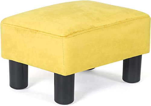 Decent Home Ottoman Footrest Stool Small Velvet Modern Square Seat Chair Footstool Yellow