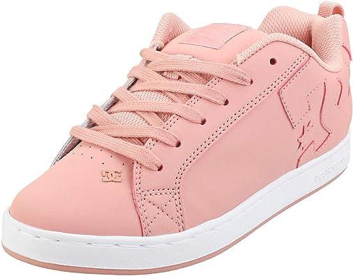 DC Court Graffik Black Pink Womens Leather Skate Trainers