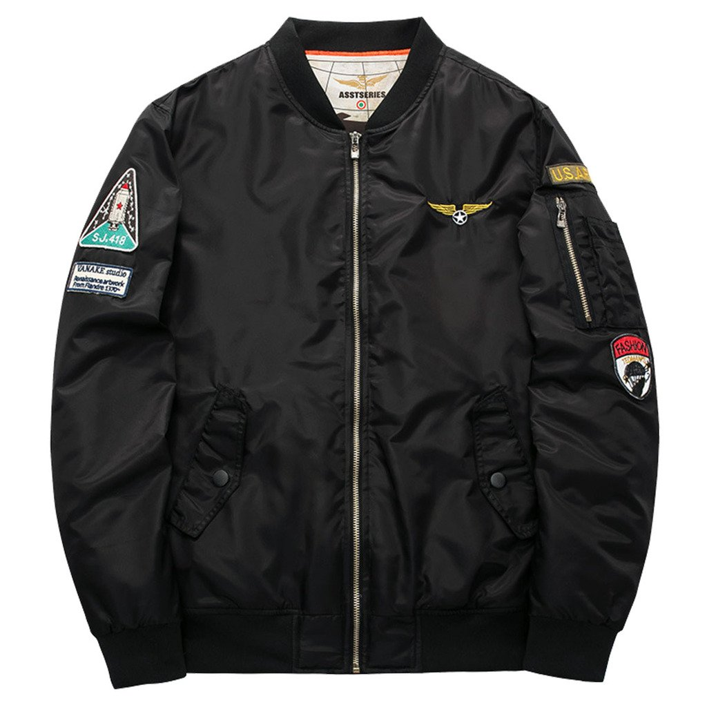 Men's Classic Stand collar USA Flag Badge MA-1 Light Weight Bomber Flight Jacket XXL Black