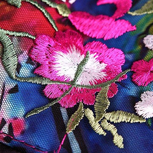 Damen Floral ärmellos Cocktail Abend Passform bestickt Flare Kleid Schwarz und dezzal 6FUqZSwq
