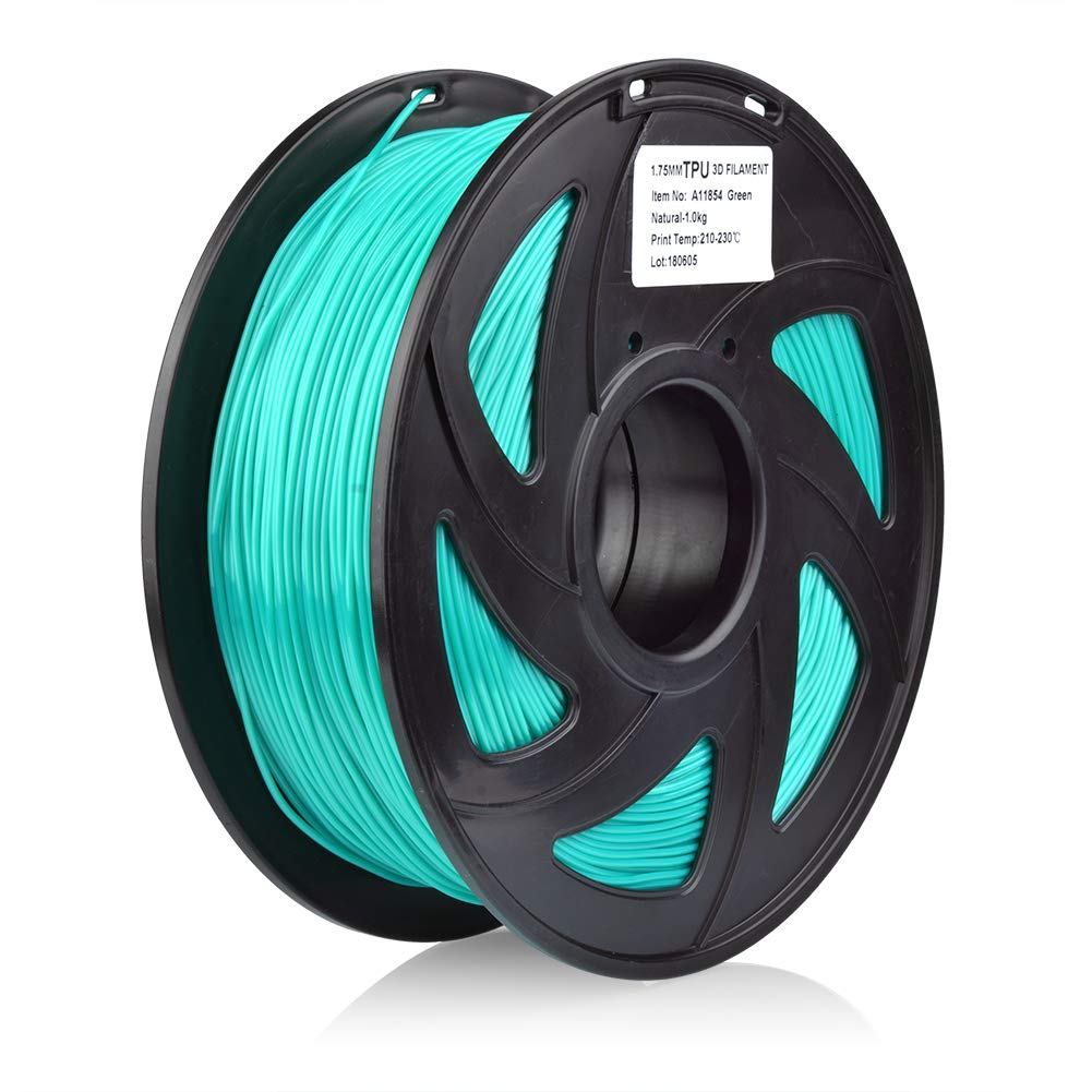 SIENOC 3D printer TPU 1.75mm Printer filament - with coil 1kg (Flexible PLA Green)
