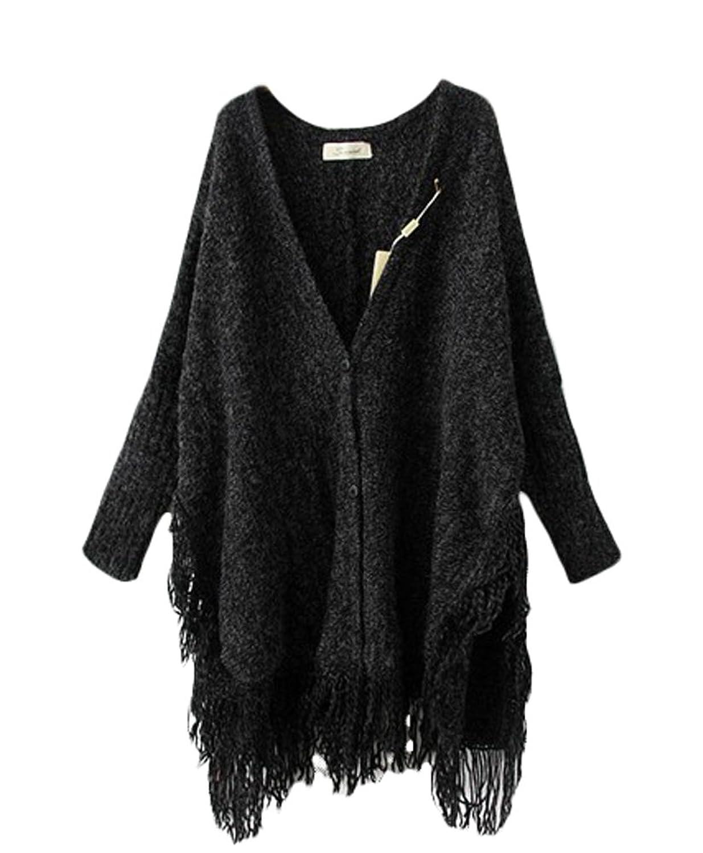 Cozylife Women's Vinter Loose Plus-size Hem Tassel Long Cardigan Sweaters