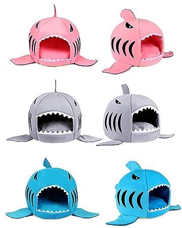 Große Hai Motive Hunde Katzenbett Mit Kissen Hundehaus Für Drinnen Waschbar  42 X 42 X