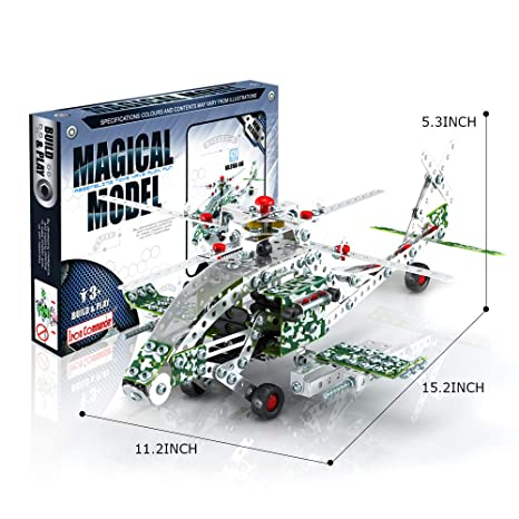 IRON COMMANDER DIY Metal Model Erector Plane Apache Helicopter Military  Helicopter Toy Building Set, 426 Parts,STEM Education Toy for Ages 8 and Up