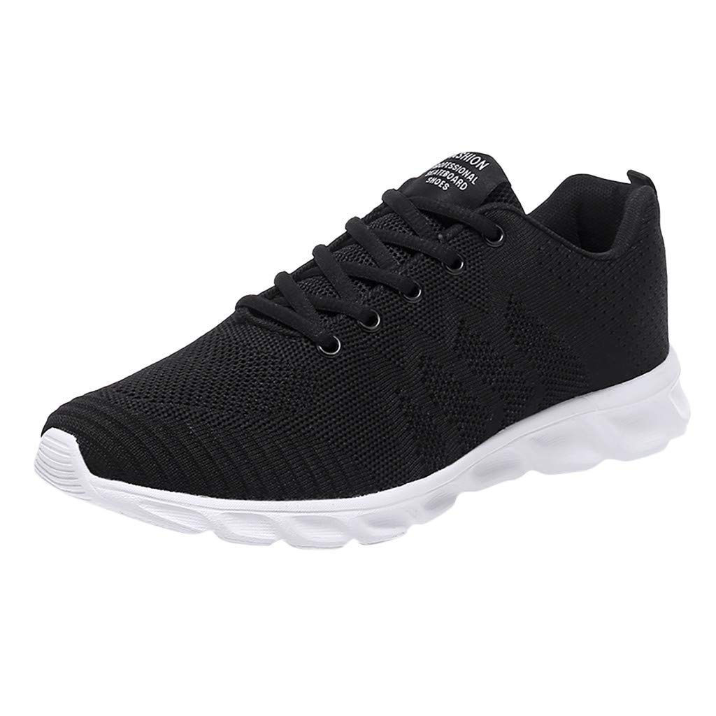 ZOMUSAR Men's Fashion Basic Solid Shoes Lace-Up Sports Shoes Non-Slip Lightweight Running Shoes Black by ZOMUSAR