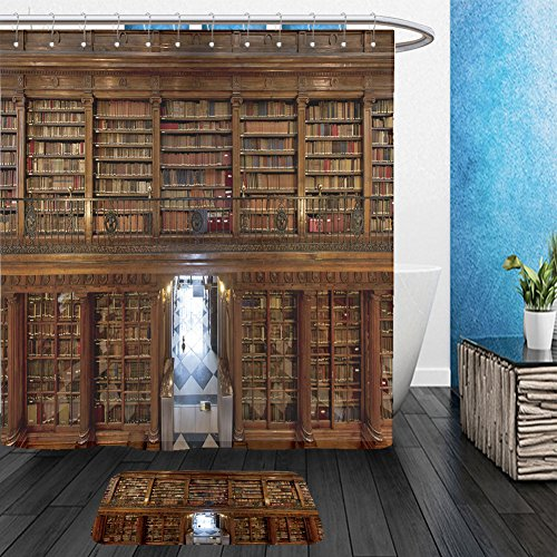 Vanfan Bathroom 2 Suits 1 Shower Curtains    1 Floor Mats A Wonderful Library Of Old Books Menendez Pelayo In Santander Spain 156209873 From Bath Room