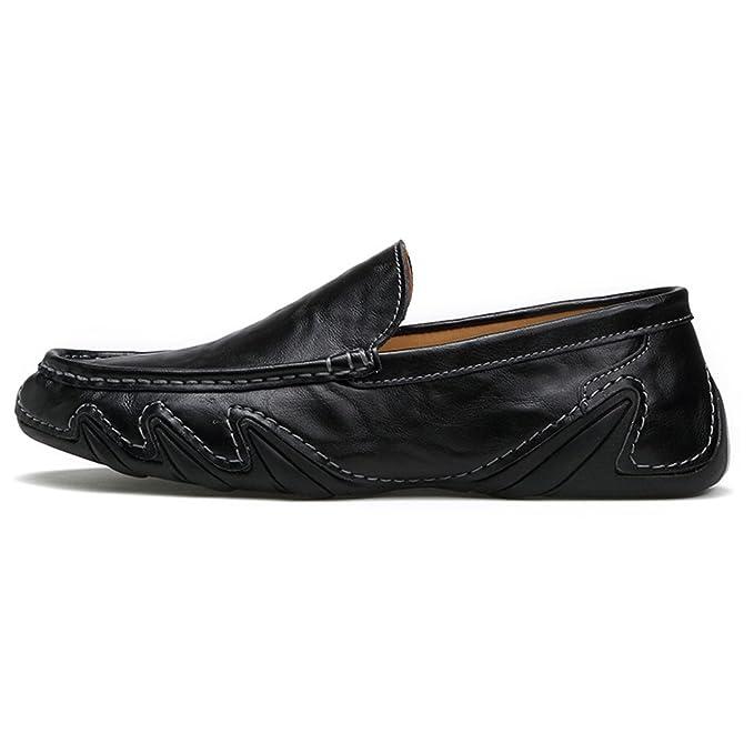 Bridfa Zapatos de cuero genuino para hombres Mocasines casuales de los hombres Ahueca hacia fuera los zapatos de conducción respirables de verano Slip On ...