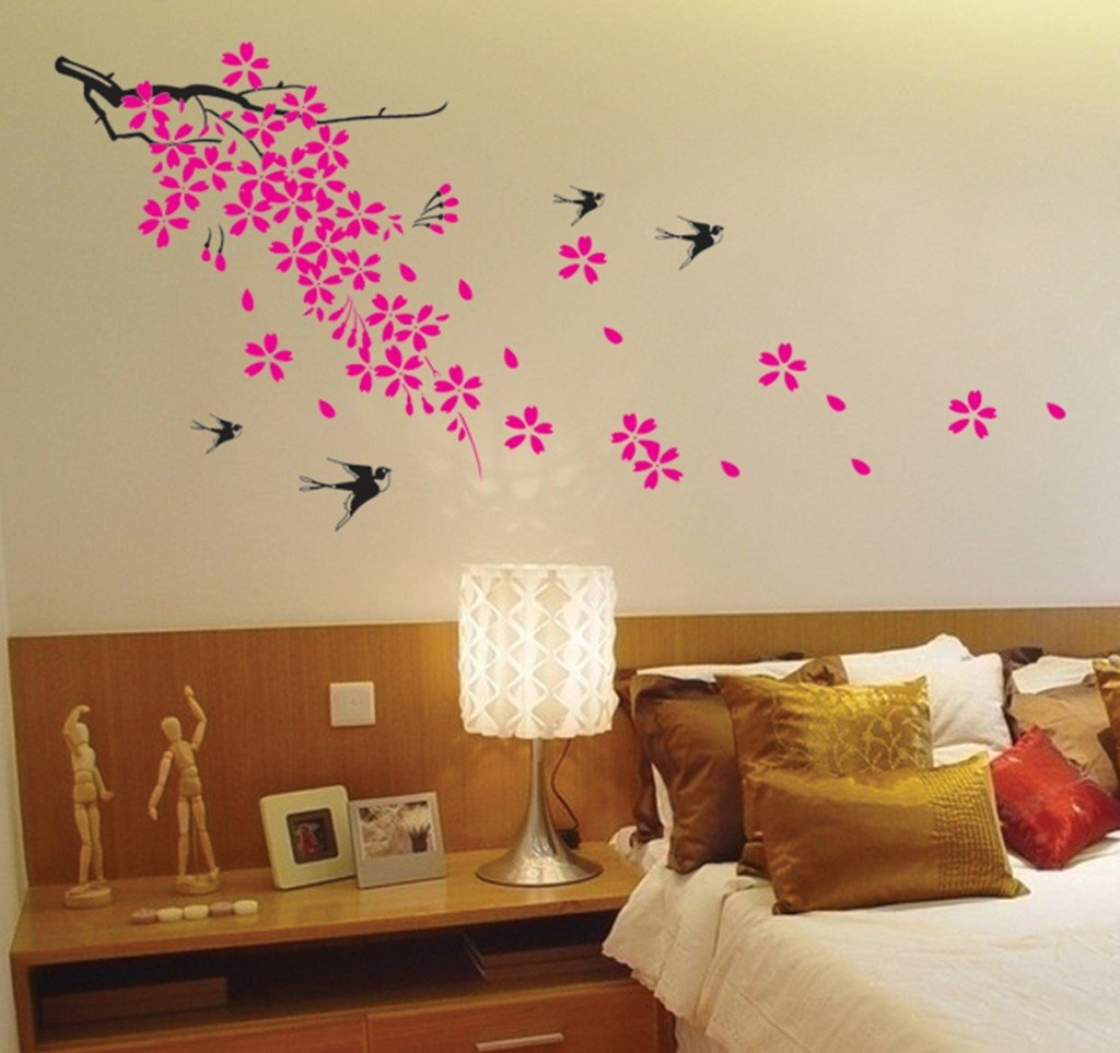 Super giant easy wall decor sticker wall decal cherry blossom super giant easy wall decor sticker wall decal cherry blossom birds flower wall decals amazon amipublicfo Gallery