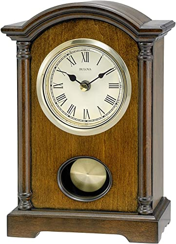 Bulova Dalton Chiming Pendulum Table Clock – Walnut Finish – Gold-Tone Accents