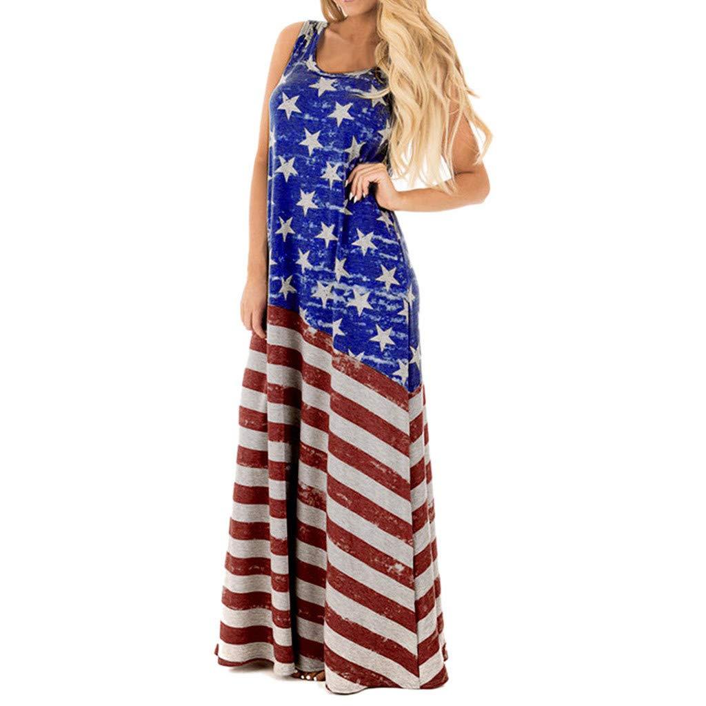 FEDULK Womens Maxi Long Dress American Flag Round Neck Sleeveless 4th of July Star Stripes Patriotic Dress (XX-Large, Dark Blue) by FEDULK